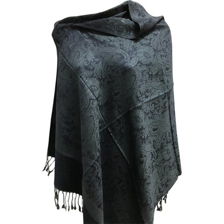 Classic Paisley Print Silky Soft Solid Color Jacquard Pashmina Shawl Stole Wrap Scarf No3