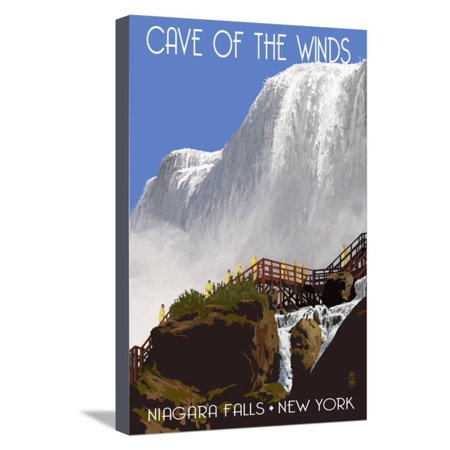 Niagara Falls, New York - Cave of the Winds Close Up Stretched Canvas Print Wall Art By Lantern