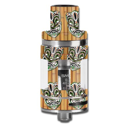 Skin Decal For Smok Micro Tfv8 Baby Beast Vape Mod / Tiki Faces On Bamboo
