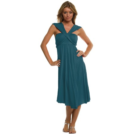 Vivian's Fashions Dress/Skirt - Twist Wrap, 10 Ways to Wear - Blue Jumpsuit