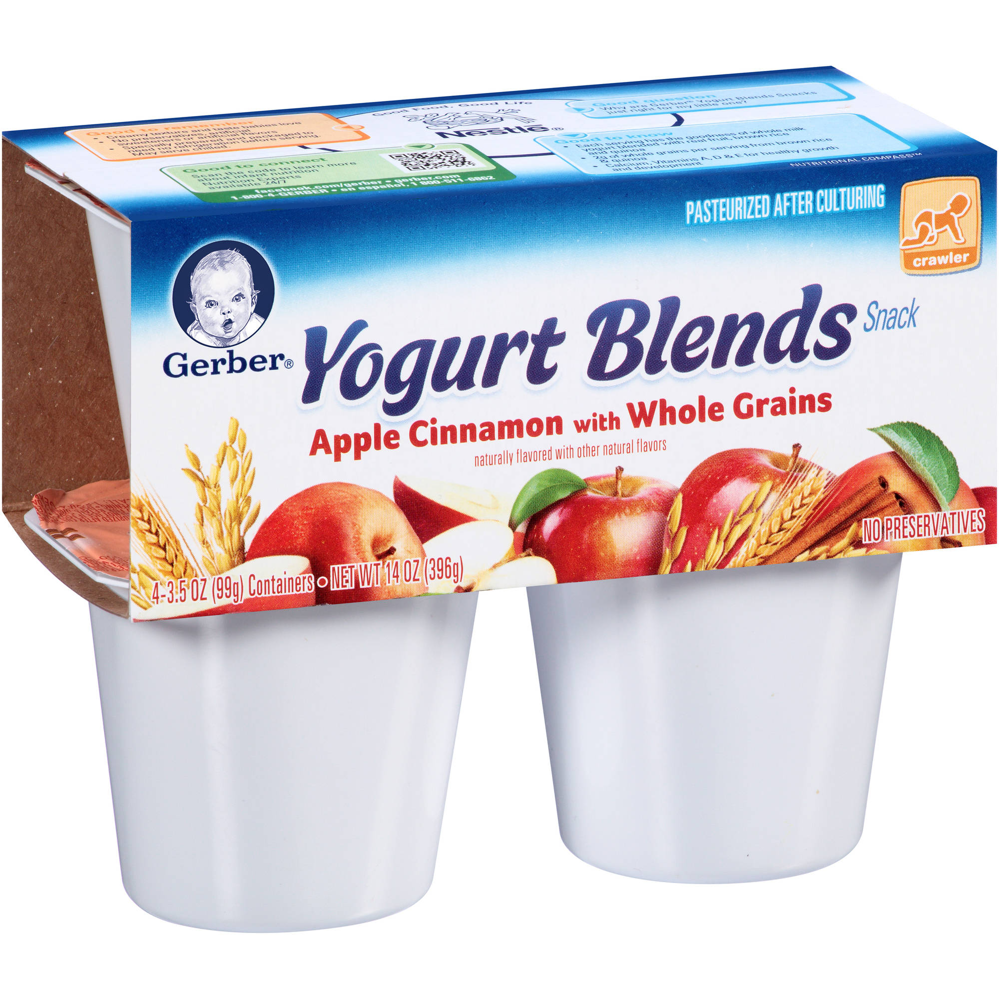 Gerber Yogurt Blends Apple Cinnamon with Whole Grains Snack, 3.5 oz, 4 count