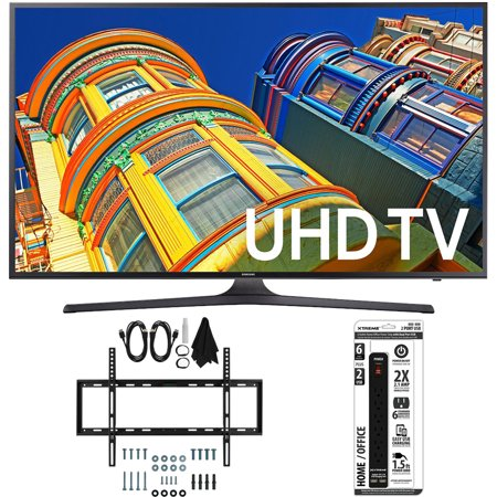 Samsung UN50KU6300 – 50-Inch 4K UHD HDR Smart LED TV w/ Slim Wall Mount Bundle includes TV, Slim Flat Wall Mount Ultimate Kit and 6 Outlet Power Strip with Dual USB Ports