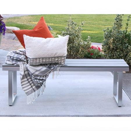 Manor Park 50 Aluminum Patio Outdoor Dining Bench Grey