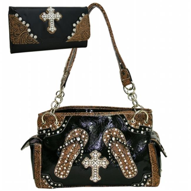 Ritz Enterprises CRL003WC005Set-BK Western Bling Rhinestone Handbag Cross Accent Purse With Matching Wallet - Black