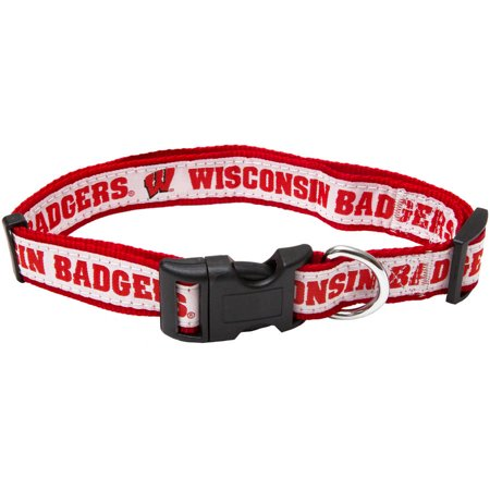 Pets First College Wisconsin Badgers Pet Collar, 3 Sizes Available, Sports Fan Dog Collar
