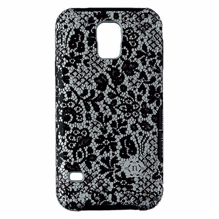 Nanette Lepore Dual Layer Case for Samsung Galaxy S5 Black and Gray Lace Design - image 2 of 2