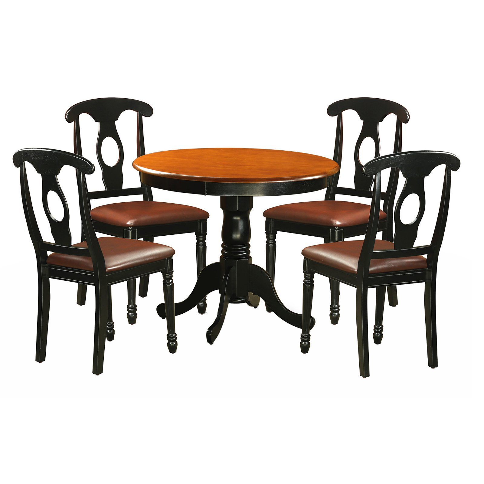 East West Furniture Antique 5 Piece Pedestal Round Dining Table Set with Kenley Faux Leather Seat Chairs