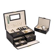 Bey-Berk International BB564BLK Black Leather 2 Level Jewelry Box with 3 Drawers, Removable Travel Tray, Mirror & Locking Clasp