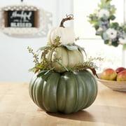 "Way to Celebrate Harvest Green Foam Pumpkin Stack Decoration 14.4"""