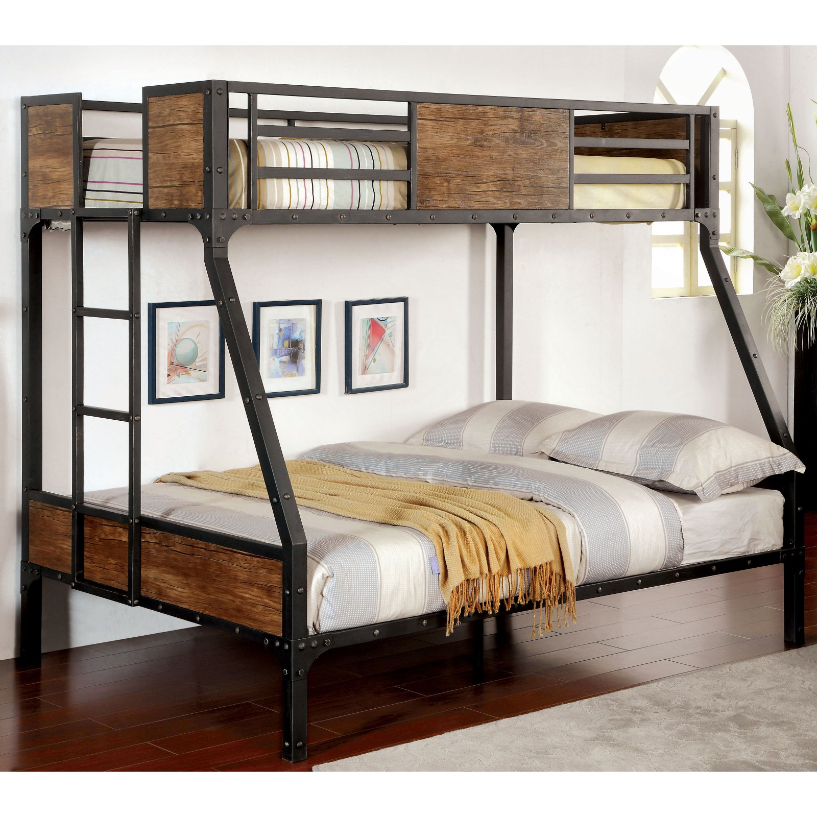 Furniture Of America Brighton Wood Panel Twin Over Full Bunk Bed