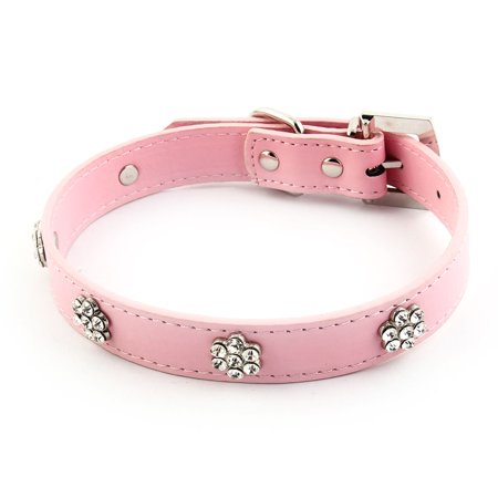 Pet Dog Faux Leather Flower Faux Rhinestone Decor Buckle Neck Collar Pink L Size - image 1 of 5