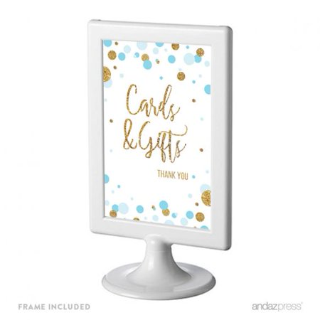 Cards & Gifts Thank You  Baby Blue Gold Glitter Baby Shower Framed Party Signs - Baby Shower Thank You Gifts For Guests