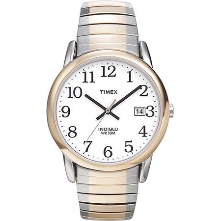 Timex Men's Easy Reader Watch, Two-Tone Stainless Steel Expansion Band