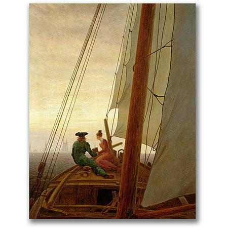 Trademark Fine Art On Board a Sailing Ship Canvas Wall Art by Caspar David Friedrich