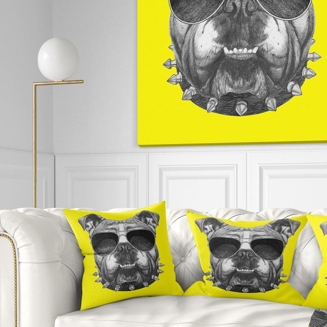 Design Art Designart Funny English Bulldog With Collar Contemporary Animal Throw Pillow Walmart Com Walmart Com