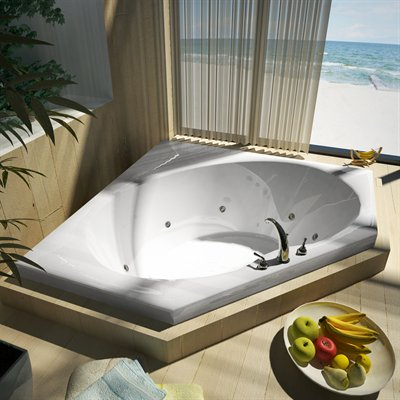 Atlantis Tubs 6060VWR Venus 60 x 60 x 23 - Inch Rectangular Whirlpool Jetted Bathtub w/ Right Side Pump Placement