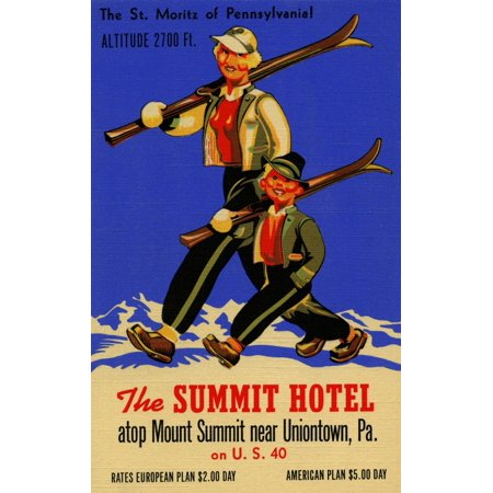 The Summit Hotel of Pennsylvania has an altitude of 2700 feet and is great for skiing as illustrated on this vintage linen postcard image  Located near Uniontown PA Poster - Hotel Club Postcards
