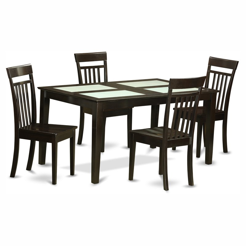 East West Furniture Capri 5 Piece Glass Top Rectangular Dining Table Set with Wooden Seat Chairs