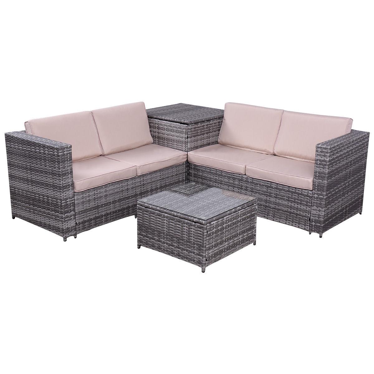 Costway 4PCS Patio Rattan Wicker Furniture Set Sofa Loveseat Cushioned W Storage Box by Costway