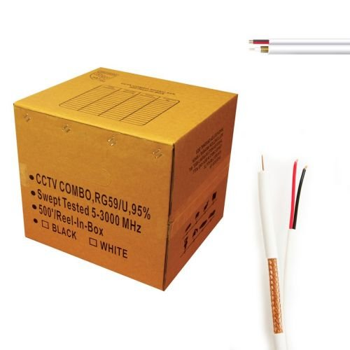 Universal Battery 77399 Upg 77399 Cctv Coaxial Siamese Pvc Rg59 Cable & 2c Bare Copper Power Cables, 500ft