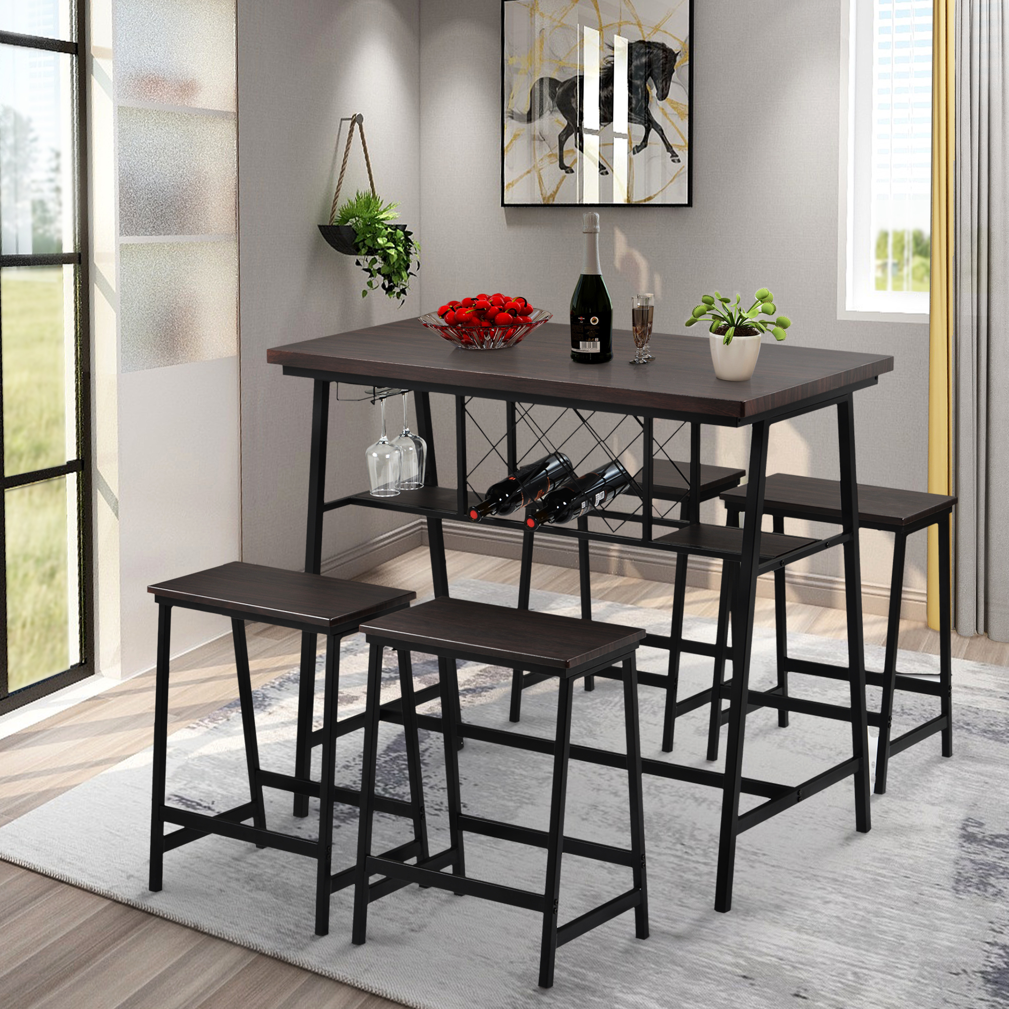 Kitchen Dining Table Set for 4, Metal Counter Height ...