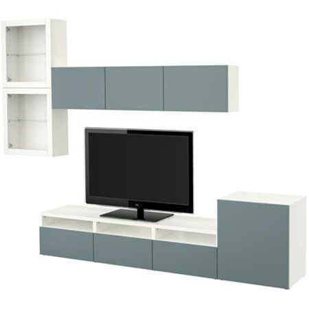 Ikea Tv Storage Combination With Push Open Drawers And Glass Doors  White  Valviken Gray Turquoise Clear Glass 8204 112317 226