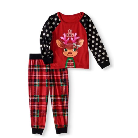 Peas & Carrots Toddler Girls Holiday Plaid Reindeer Pajamas 2pc Set - Holiday Clothing For Toddlers