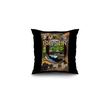 Big Sur, California - Montage Scenes - Lantern Press Poster (16x16 Spun Polyester Pillow, Black Border) (Big Toy Store Scene)