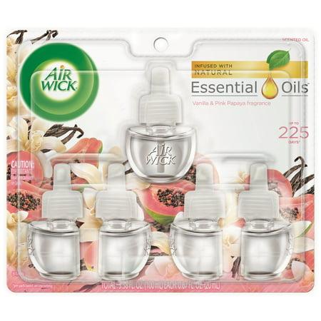 Air Wick Scented Oil 5 Refills, Vanilla & Pink Papaya, (5x0.67oz), Air Freshener ()