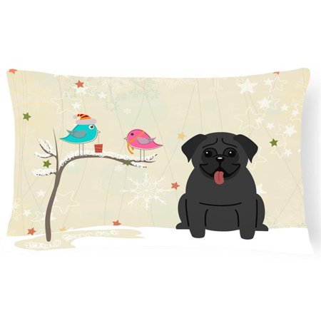 Carolines Treasures BB2478PW1216 Christmas Presents Between Friends Pug Black Canvas Fabric Decorative Pillow - image 1 of 1