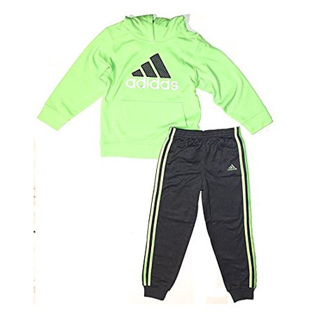 adidas Boys Hooded Tricot Jacket and Jogger Pant Set (3T, Solar Green)