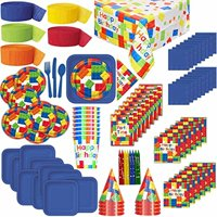 """Lego Themed Birthday Party Supplies for 8: Plates, Cups, Napkins, Tablecloth, Cutlery, Streamers, Candles, Loot Bags, Birthday Hat"""