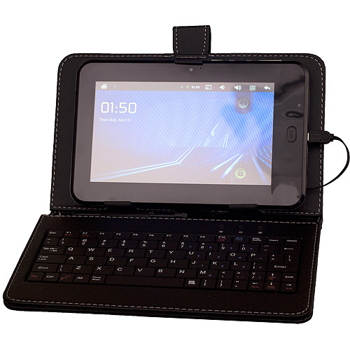 "QFX 9"" Tablet Keyboard Case with miniUSB and Stylus, Black"