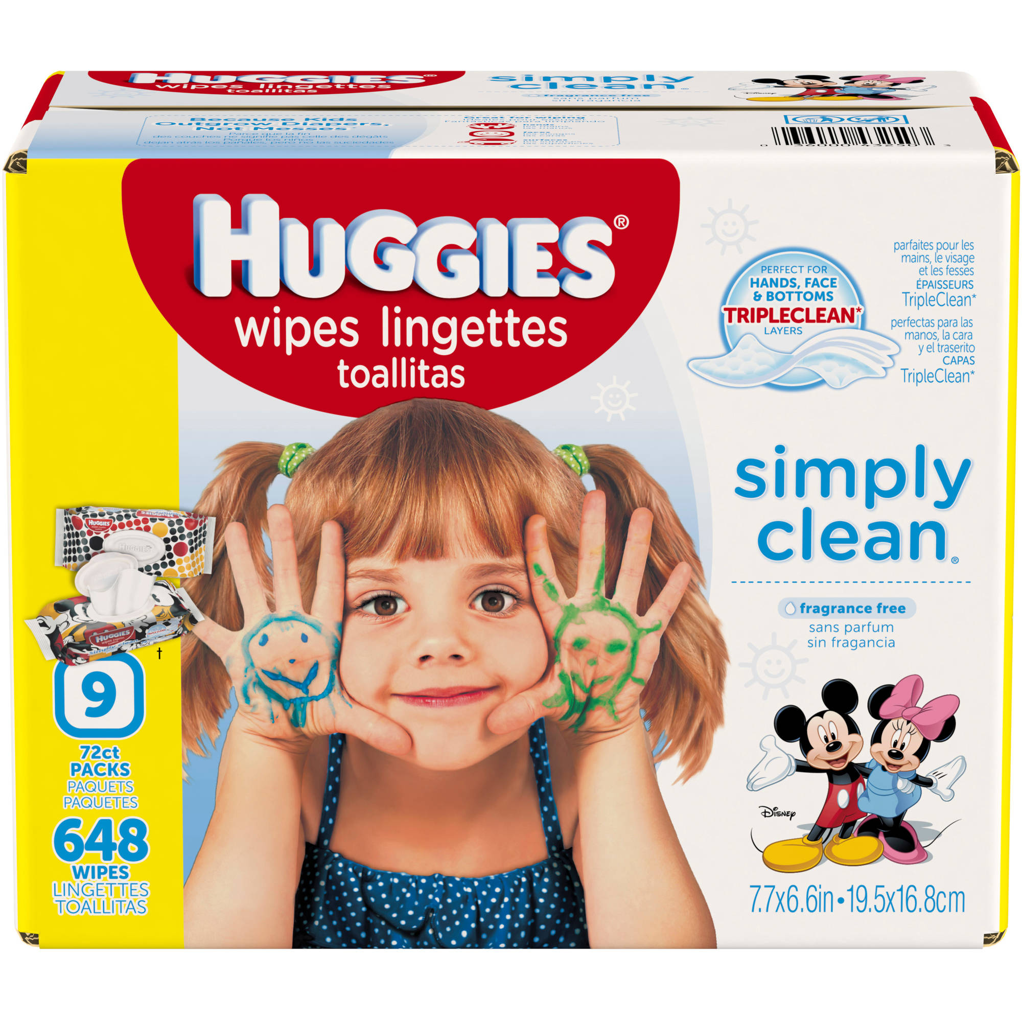 HUGGIES Simply Clean Baby Wipes, Unscented, Soft Pack (9-Pack, 648 Sheets Total)