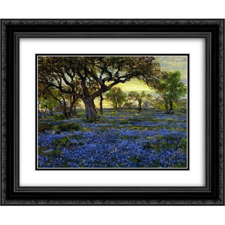 Robert Julian Onderdonk 2x Matted 24x20 Black Ornate Framed Art Print 'Old Live Oak Tree and Bluebonnets on the West Texas Military Grounds, San Antonio' (Texas Live Oak Tree)