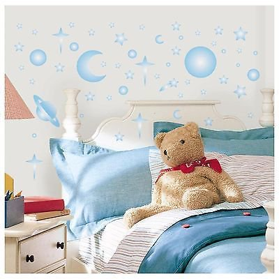 CELESTIAL GLOW in the DARK 258 Wall Stickers Stars Planet Moon SPACE Room Decals - Glow In The Dark Wall Decals