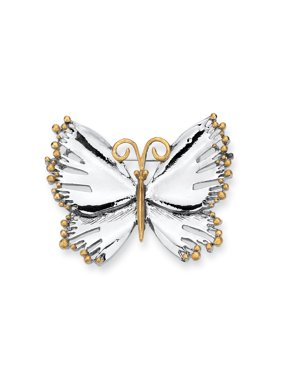 Product Image Silvertone Two-Tone Butterfly Pin Brooch b533ca4439