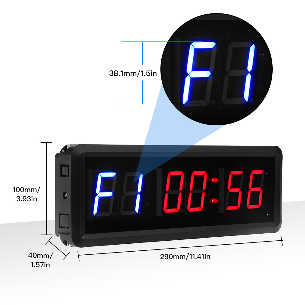 N// A Jhering 1.5 Inch 6 Digital Led Countdown Timer Stopwatch Wall Clock for Gym Fitness Home