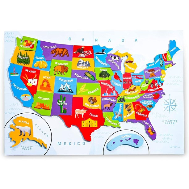 Kids Us Map With Capitals 44PCS Magnetic USA Puzzle Map for Kids, with Capitals and Outline
