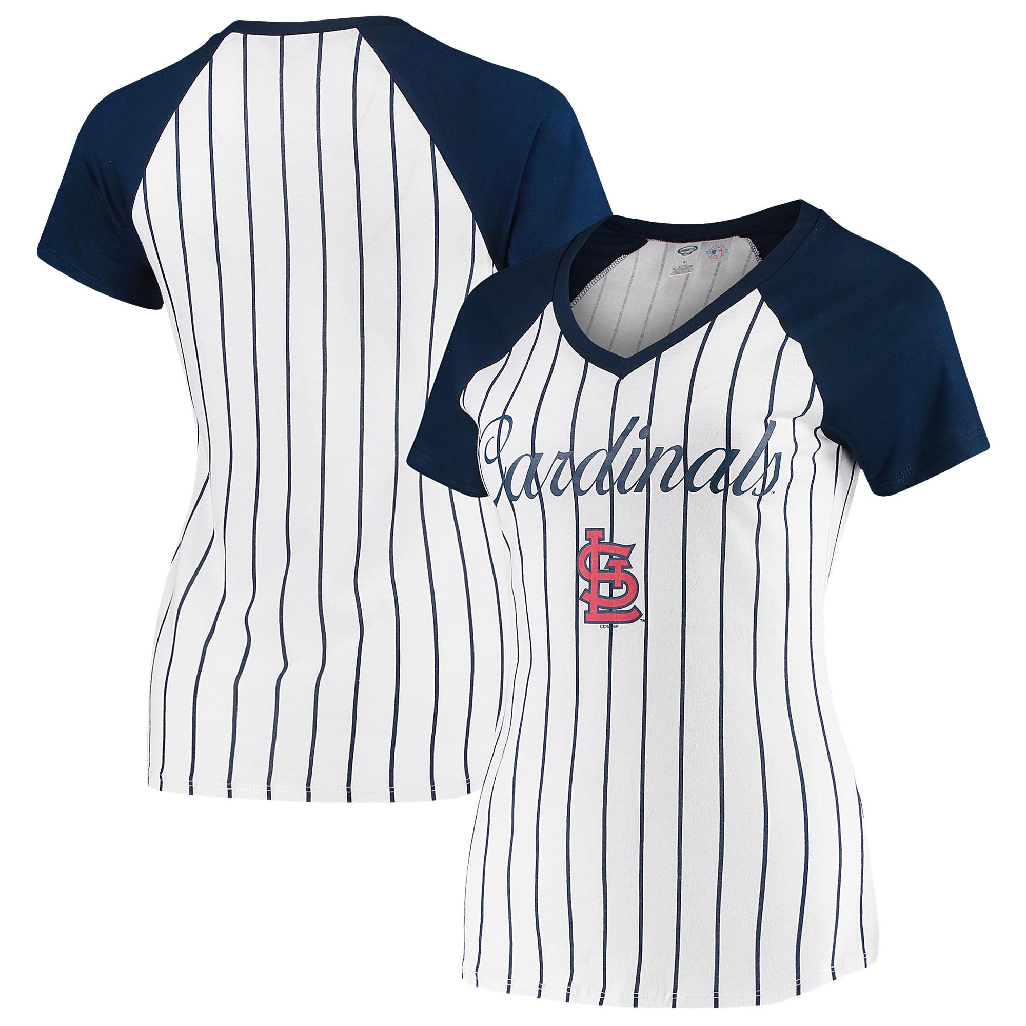 St. Louis Cardinals Concepts Sport Women's Vigor Pinstripe T-Shirt - White/Navy