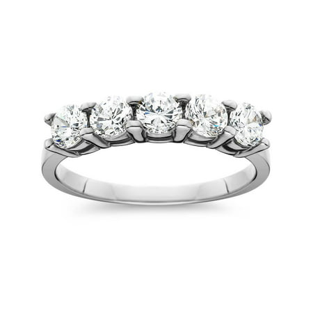 (1ct Five Stone Genuine Round Diamond Wedding Anniversary Ring 14K White Gold)
