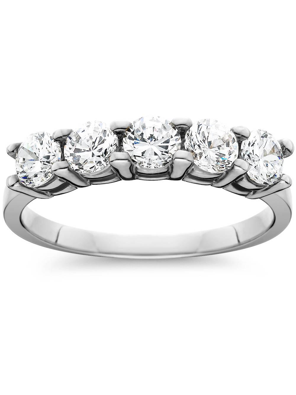 Pompeii3 1ct Five Stone Genuine Round Diamond Wedding Anniversary Ring 14K White Gold