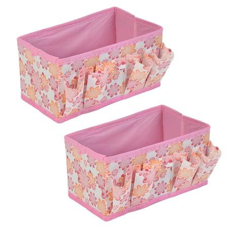 Unique Bargains 2pcs Bathroom Cosmetic Mask Eyebrow Pencil Foldable Floral Pattern Case Organizer Storage Box