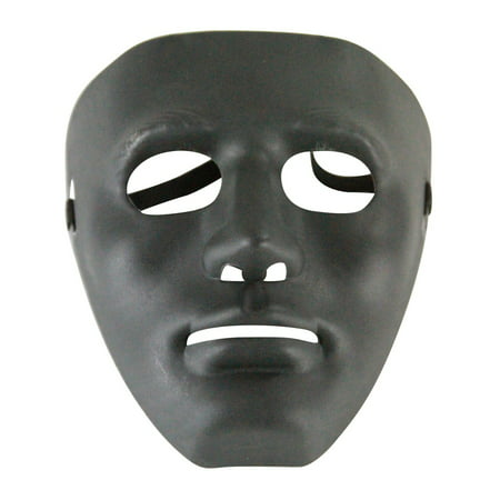 Black Mask Costume (Adults Male Blank Black Halloween Face Mask Facemask Costume)