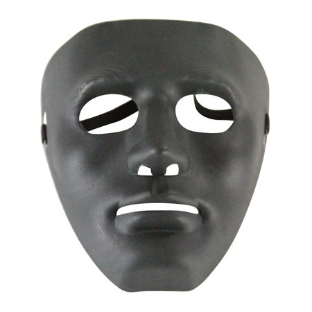 Adults Male Blank Black Halloween Face Mask Facemask Costume Accessory - Black Face Mask Costume