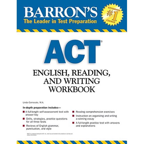 Barron's ACT English, Reading, and Writing Workbook - Walmart com