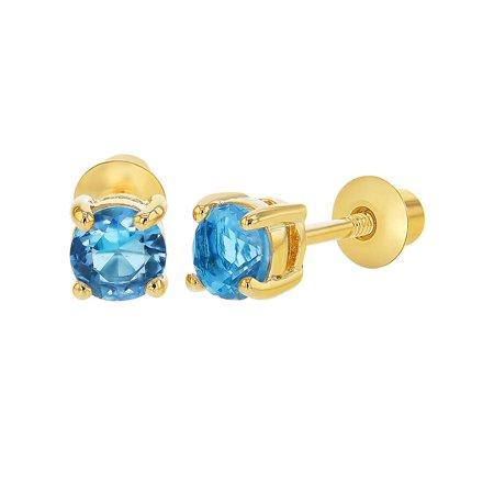 b077571e7 In Season Jewelry - 18k Gold Plated March Blue Crystal Screw Back Girls  Earrings 3mm - Walmart.com