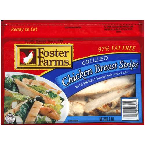 Foster Farms Grilled Chicken Breast Strips, 6 oz