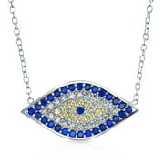 Turkish Blue Yellow Pave CZ Spiritual Protection Amulet Evil Eye Pendant Station Necklace for Women for Teen .925 Sterling Silver
