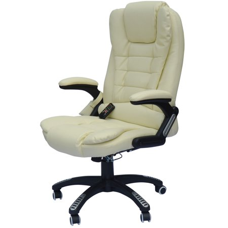 HomCom HighBack Executive Ergonomic PU Leather Heated Vibrating - Cream desk chair